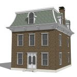 Mansard roof style brick home.