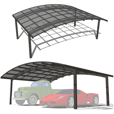 Double carports 3d model formfonts 3d models textures for Carport size for 2 cars