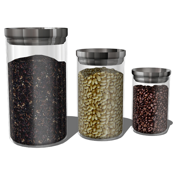 4 different sets of modern kitchen canisters.