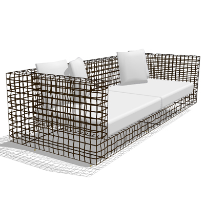 A visually stunning geometric set of chairs, couch....
