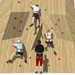 Four people climbing, men and 