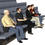Four low poly models of people 