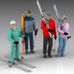 A selection of male and female skiers