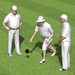 Three senior male playing lawn 