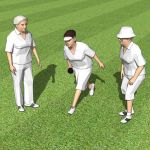 Three senior women playing lawn 