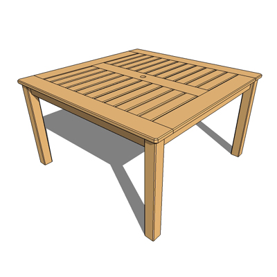cedar table 3d model cedar garden table with umbrella stand