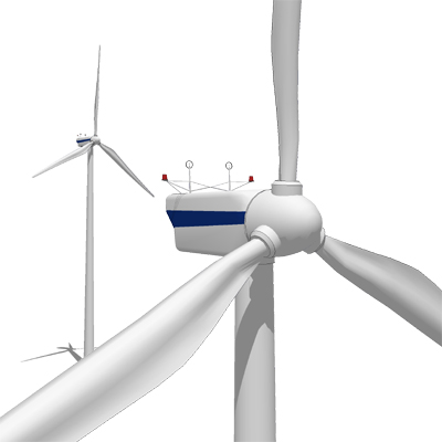 Land based and offshore Vestas wind turbines..