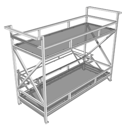 A chrome and glass rolling bar cart..