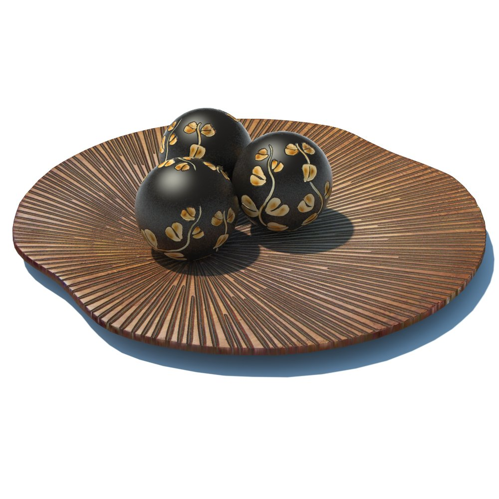 Decorative fan and spheres. Fan han be hung on the....
