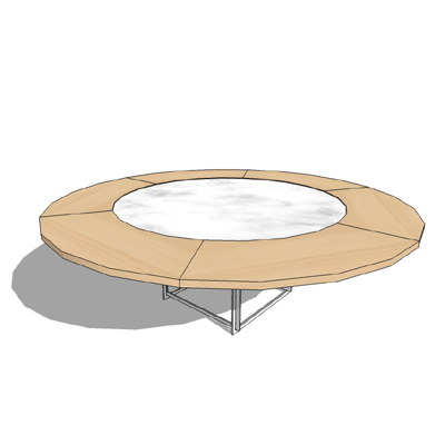PK54 marble topped table with maple extensions by ....