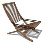 Foldable teak finished lounge chair