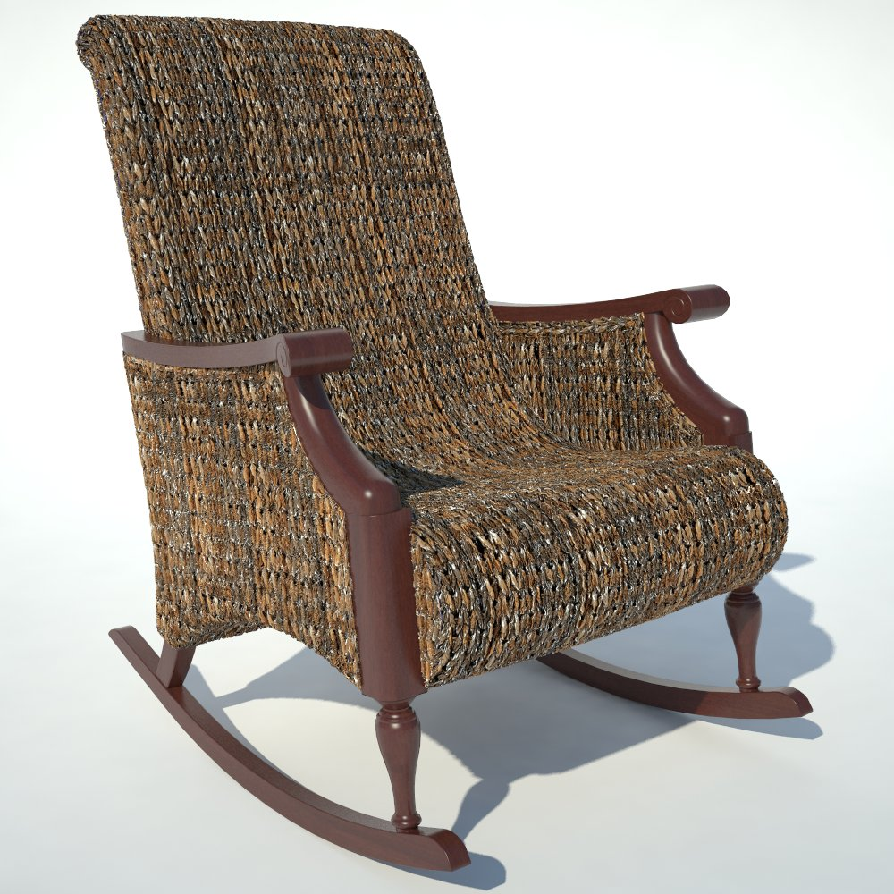Traditional Rocking Armchair 01 in rattan weave..