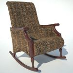 Traditional Rocking Armchair 01 in rattan weave.