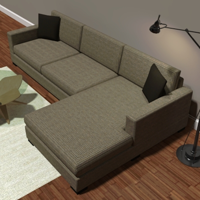 Room And Board Metro Sofa With Right Arm Chaise.