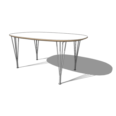 B412, Super Ellipse table by Fritz Hansen, The ser....