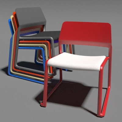 Knoll Spark Stacking Chairs 3D Model