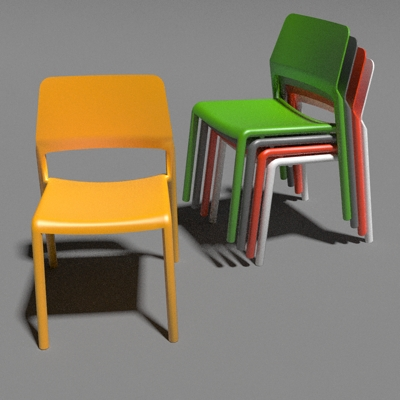 Delicieux Knoll Spark Stacking Chairs 3D Model