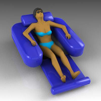 Woman sunbathing in pool chair.