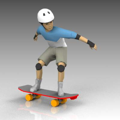Boy on skateboard.