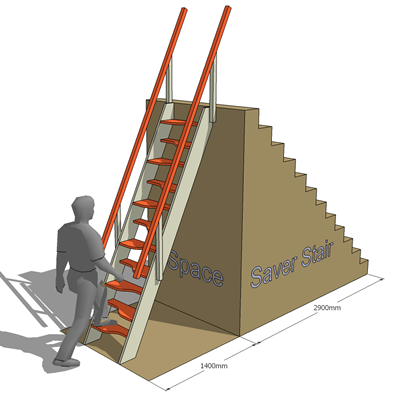 Space saver staircase 3d model formfonts 3d models textures - Stairs in a small space model ...