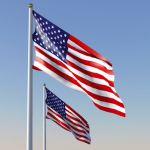 Four full textured US Flag, in 