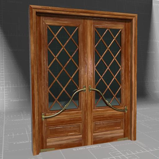 Mahogany French Doors 3d Model Formfonts 3d Models Textures