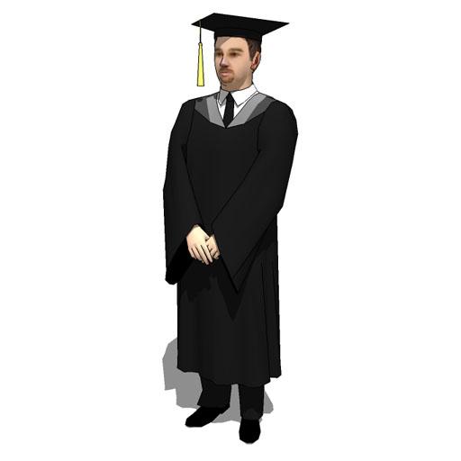 Male Students in Regalia 10 3D Model - FormFonts 3D Models