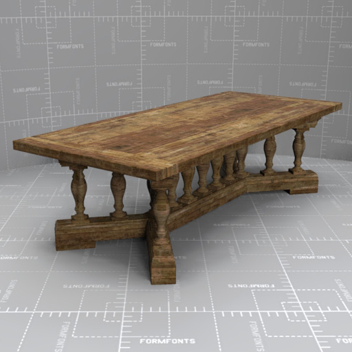 rh 15 baluster dining table 3d model formfonts 3d models textures