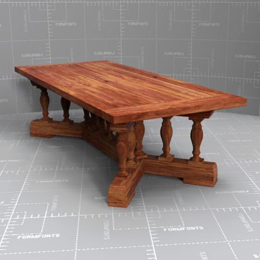 Rh 15 baluster dining table 3d model formfonts 3d models for Dining table models