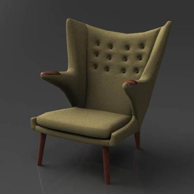 wegner bear chair 3d model formfonts 3d models textures. Black Bedroom Furniture Sets. Home Design Ideas