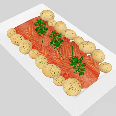 An assortment of 4 salmon platters with garnishing....