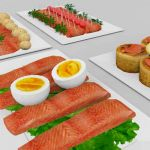 An assortment of 4 salmon platters with garnishing...