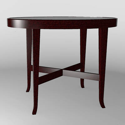"Barbara Barry oval table 28""x23""."