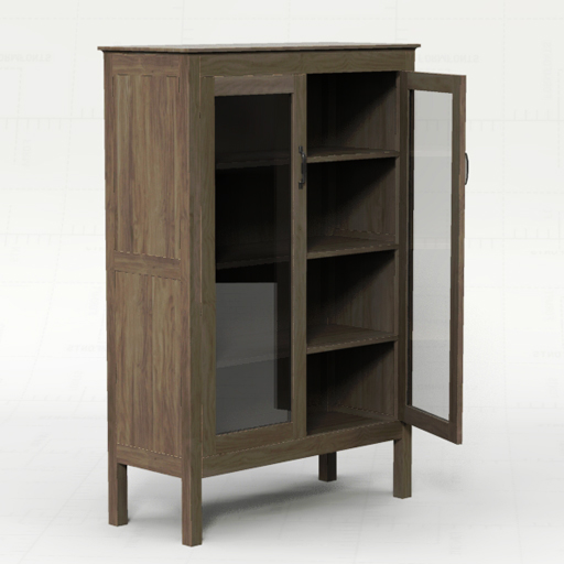 Ainsworth 2 Door Cabinet, With Glass And Wood Do.