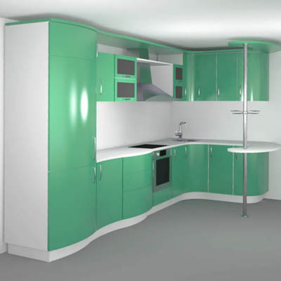 A low poly, complete modern kitchen.