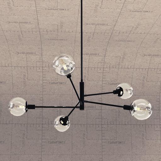 orb 5 light pendant lamp 3d model formfonts 3d models textures