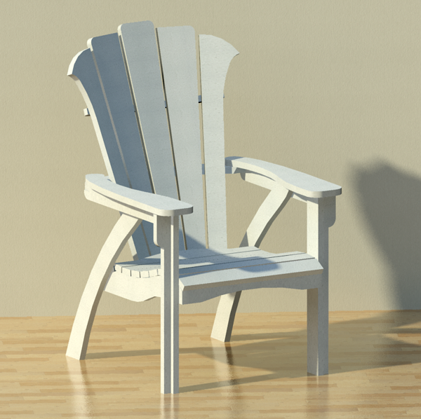 Modern adirondack patio chair 3d model formfonts 3d for Outdoor furniture revit