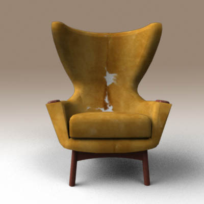 Beau Cowhide Wing Chair 3D Model. Iconic Adrian Pearsall Cowhide Wingback Lounge  ...