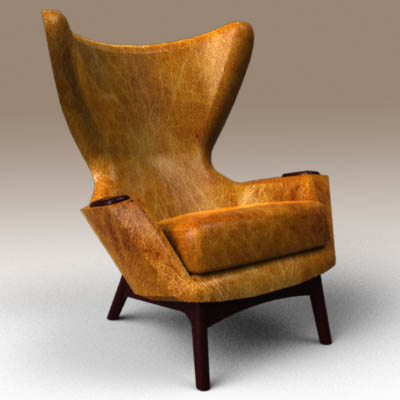 Superieur Cowhide Wing Chair 3D Model. Iconic Adrian Pearsall Cowhide Wingback Lounge  ...