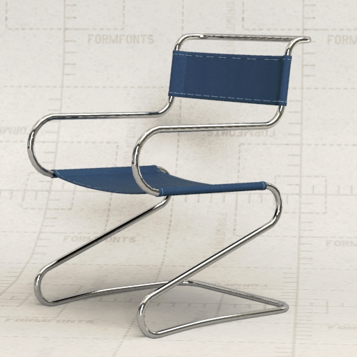 Thonet tubular steel chair. & Thonet Steel Chair 3D Model - FormFonts 3D Models u0026 Textures