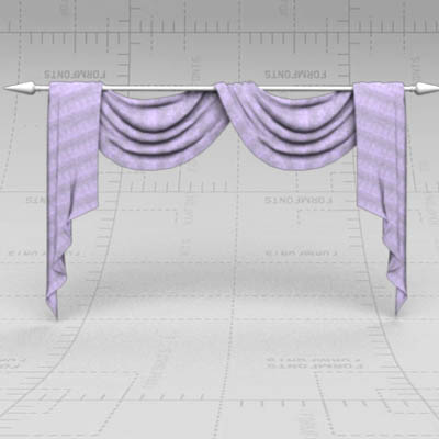 Set Of Draped Curtains.