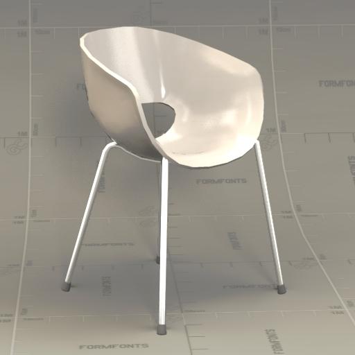 Superieur Orbit White Arm Chair 3D Model