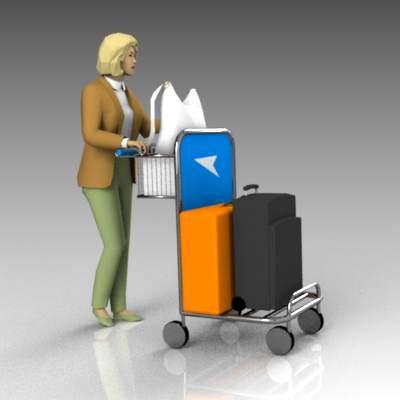 Person with baggage on airport trolley.