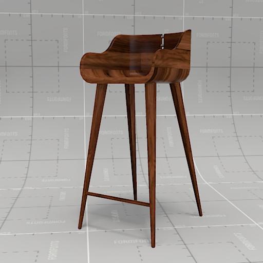 Walnut Wooden Bar Stools ~ Walnut bar stool d model formfonts models textures