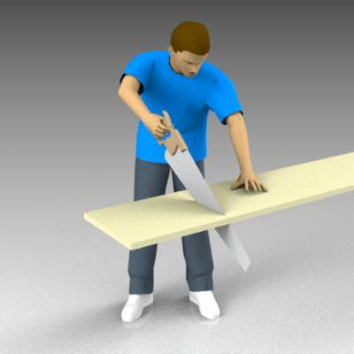 Man using a panel saw.