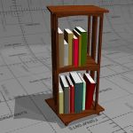 Small rotating bookshelf, 41 x 41 x 94, brown stai...