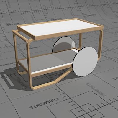 Artek 901 trolley, frame form pressed birch plywoo....