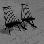 Mademoiselle lounge chair and rocking chair. Seat,...