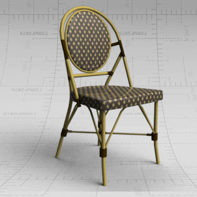 Aliminum bamboo cafe/bistro chair with wicker bind....