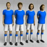 Female football/soccer players in standing pose. T...